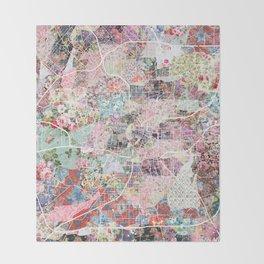San Antonio map flowers Throw Blanket
