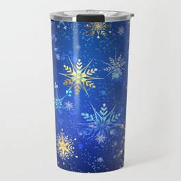 Blue background with golden snowflakes Travel Mug