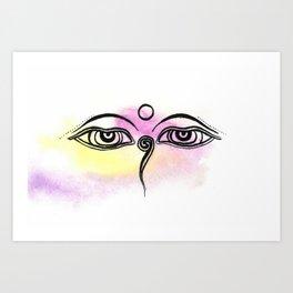 Buddha eyes of Nepal Art Print