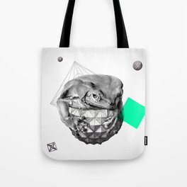 Zoological Serie: Resilience, Frog, cosmic, geometric, space, animal, green Tote Bag