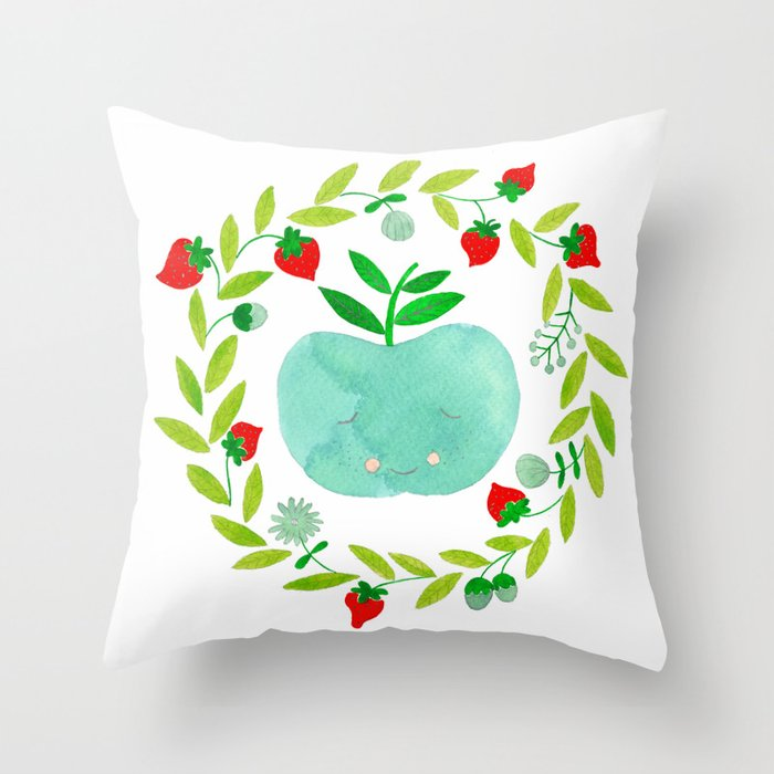 mint apple with wreath and strawberries watercolor Throw Pillow
