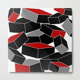 Falling - Abstract - Black, Gray, Red, White Metal Print