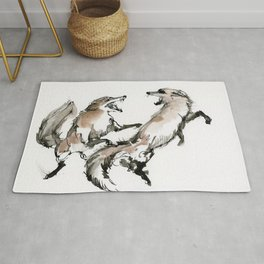 Fighting foxes Rug