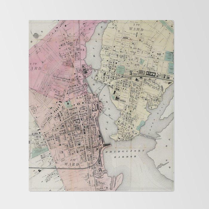 Vintage Map of Bridgeport CT (1867) Throw Blanket by bravuramedia ...