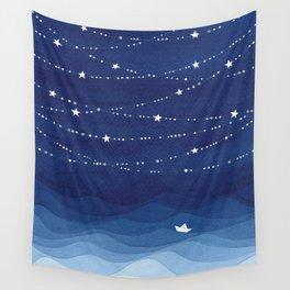 night sky, ocean painting Wall Tapestry