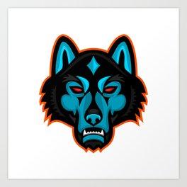 Timber Wolf Head Sports Mascot Art Print