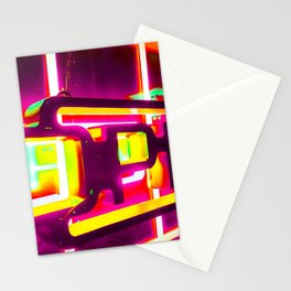 night light with open neon sign in pink yellow green background Stationery Cards