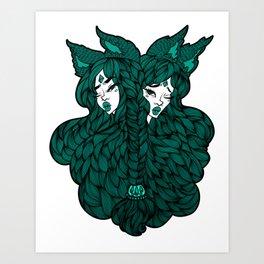 girl twins chanterelles Art Print