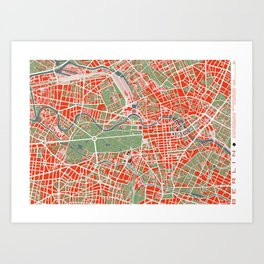 Berlin city map classic Art Print
