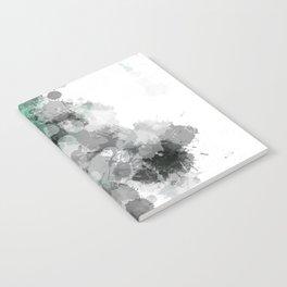 Mint Green Paint Splatter Abstract Notebook