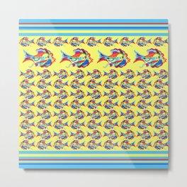 Watercolor Fish Yellow Metal Print