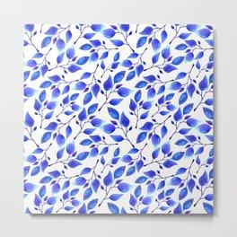 Hand painted watercolor blue leaves Metal Print
