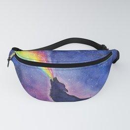 Galaxy Wolf Howling Rainbow Fanny Pack