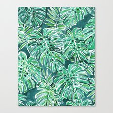 JUNGLE VIBES Green Monstera Watercolor Print Canvas Print