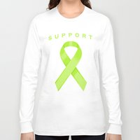 lime green Long Sleeve T-shirts featuring Lime Green Awareness Ribbon by Campen Arts