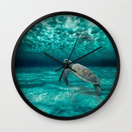 Turtle in Clear Waters Wall Clock