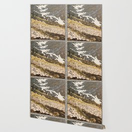 ALPINE MEADOW SNOWFIELD SHAPES OIL PAINTING Wallpaper