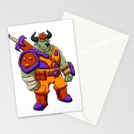 Bull warrior cartoon illustration Stationery Cards
