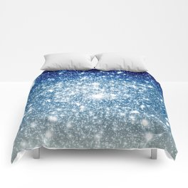 Galaxy Sparkle Stars Deep Blue Silver Ombre Comforters