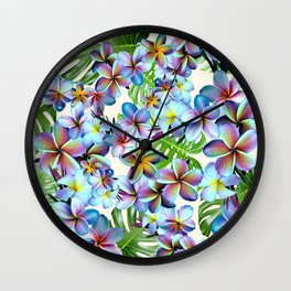 Rainbow Plumeria Pattern Wall Clock