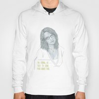 tina fey Hoodies featuring Illustration Tina Fey 'Talk to Food' by Katie Munro