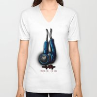 technology V-neck T-shirts featuring Music Technology by RhiCreated
