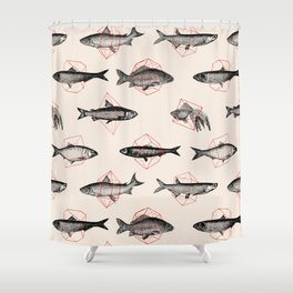 Fishes In Geometrics (Red) Shower Curtain