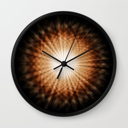 Amber and White Round Sunburst Abstract Wall Clock