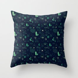 Witchcraft Pattern - Moss Throw Pillow