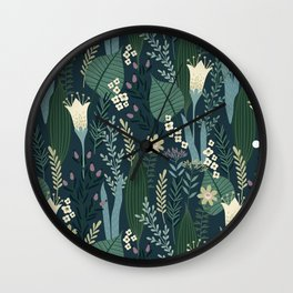 Wonderful Mid-Century Style Evening Lily And Wildflower Pattern Wall Clock