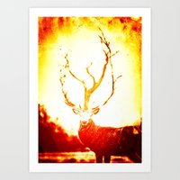 stag Art Prints featuring STAG by Chrisb Marquez