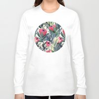gray pattern Long Sleeve T-shirts featuring Painted Protea Pattern by micklyn