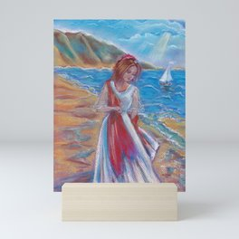 Assol - the girl on the Bay in the background sailing ship. Good pastel drawing for interior design. Mini Art Print
