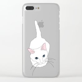 Kitty cat Illustrated Print White Pink Blue Clear iPhone Case