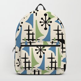 Mid Century Modern Atomic Wing Composition Blue & Sage Backpack