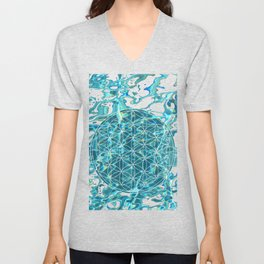 Flower of life in the water Unisex V-Neck