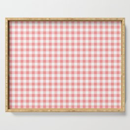 Cute Pink Gingham Plaid Pattern Serving Tray