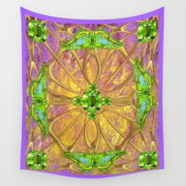 Lilac-Gold Green Peridot Gems August Birthstone Design Wall Tapestry