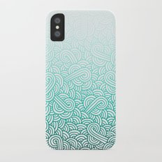 Gradient turquoise blue and white swirls doodles iPhone X Slim Case