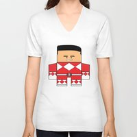 power rangers V-neck T-shirts featuring Mighty Morphin Power Rangers - The Original Red Ranger Unmasked (Jason) by Choo Koon Designs