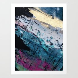Twilight [2]: a beautiful, abstract watercolor + mixed-media piece in blue, gold, purple, + pink Art Print