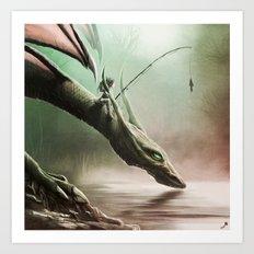 Fishing On The Drinking Dragon Art Print