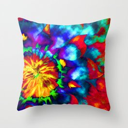 Groovy Tie Dyed Square Throw Pillow