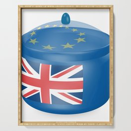 Flag of the Great Britain. Bowl with a translucent cover. The symbol of the European Union. Serving Tray