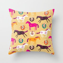 Lucky Horses Throw Pillow