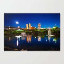 Colors of Night Tulsa Oklahoma Downtown City Skyline Canvas Print