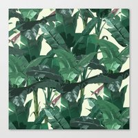 banana leaf Canvas Prints featuring Banana Leaf Pattern 2 by Tamsin Lucie