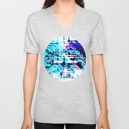 circuit board blue Unisex V-Neck