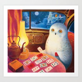 Snow Owl In The Old Car Art Print
