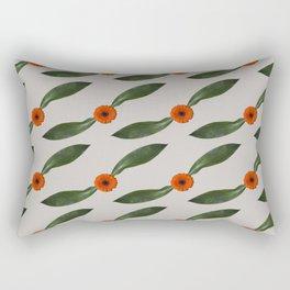 Retro Leaf and Orange Gerbera Floral Pattern Rectangular Pillow